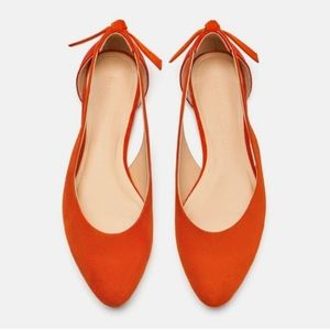 Zara cut out orange and red bow ballerina flats si